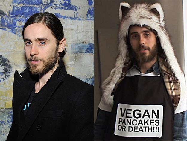 "Actor-turned-rock-star Jared Leto and the rest of his band mates are all strict vegans: ""Well, there was a time when we used to sacrifice goats, but then we all became vegans, so we've been sacrificing tofu before the shows!"""