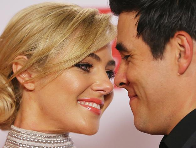 Jessica and James Stewart get close at the 2014 Logies.