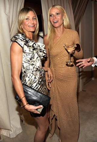 Cameron Diaz parties with Gwyn at the Vanity Fair Oscar Party in 2011.