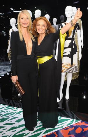 The actress has been a muse for many designers over the years. Here she is with fashion designer and friend Diane Von Furstenberg.
