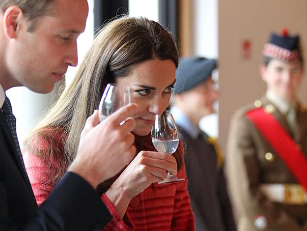 The Duke and Duchess of Cambridge try some whiskey during a tour of The Famous Grouse Distillery in Crieff, Scotland.