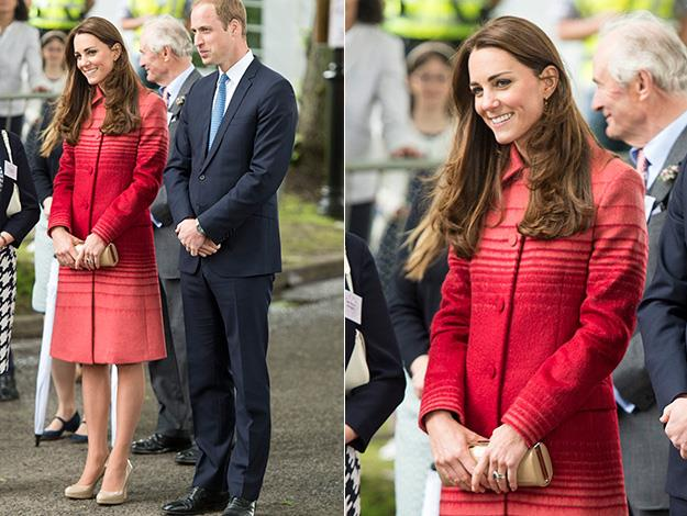 The Duchess wore a crimson red coat by Scottish designer Jonathan Saunders, a matching shift dress by Goat, nude pumps, matching patent leather clutch and a flower brooch.