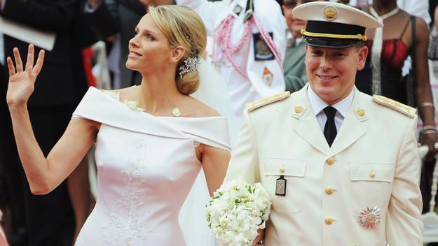 The royal couple leave their wedding ceremony at the Prince's Palace of Monaco on July 2, 2011.