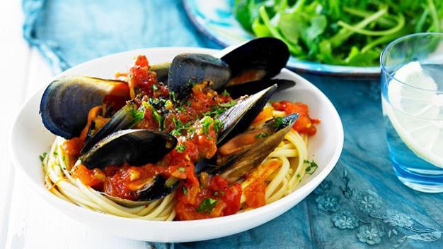 Tomato and saffron mussels [Click here for the recipe](http://www.aww.com.au/food/recipes/2013/4/tomato-and-saffron-mussels)