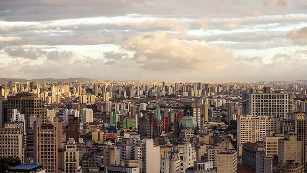 The Sao Paulo skyline at sunset.