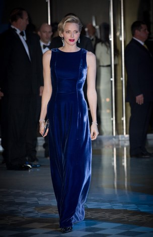 The Princess turns heads in the midnight blue velvet number to a ball in Monaco on November 15, 2013.