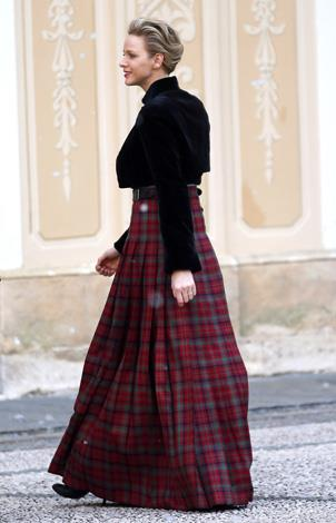 Getting into the Christmas spirit in this floor-length tartan skirt.