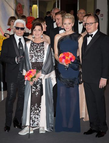 A fashionable bunch: Karl Lagerfeld, Princess Caroline, Charlotte Casiraghi, Princess Charlene and Prince Albert attend the Rose Ball at Sporting Monte-Carlo in March in Monte-Carlo, Monaco.