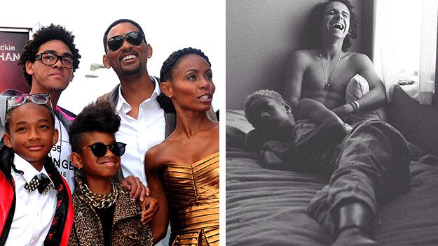 Left: The Smith clan. Right: The image of Willow, 13, and Moises, 20, that sparked the controversy.