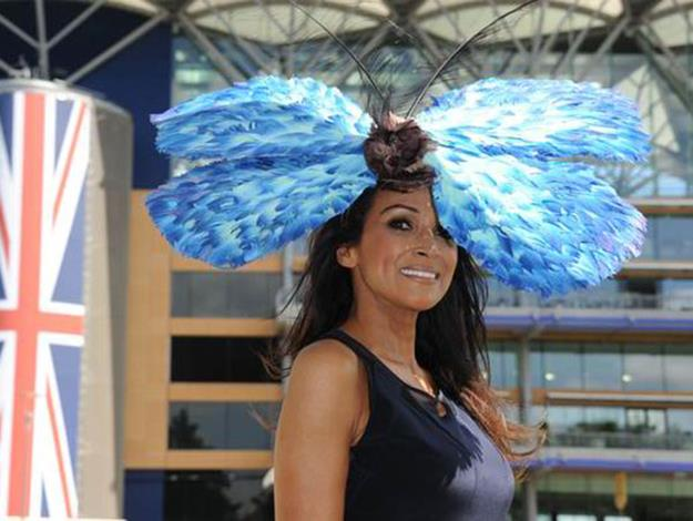 Jackie Sinclair and her huge feathered butterfly hat.