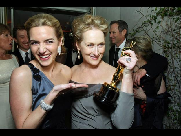 Partying with Kate Winslet (and her Academy Award) at the 2009 Vanity Fair Oscar Party.