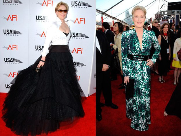 Making a statement on the red carpet at the 2004 AFI Lifetime Achievement Awards (left) and in 2010.