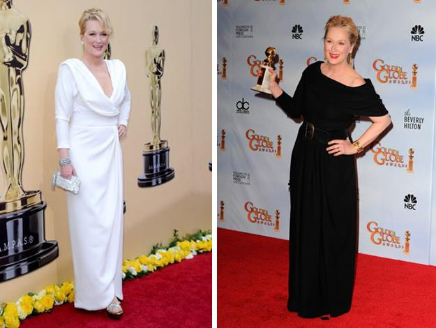 Classic and stunning in Fred Leighton at the 2010 Academy Awards (left) and at the Golden Globes in 2010 with her award for Julie & Julia.