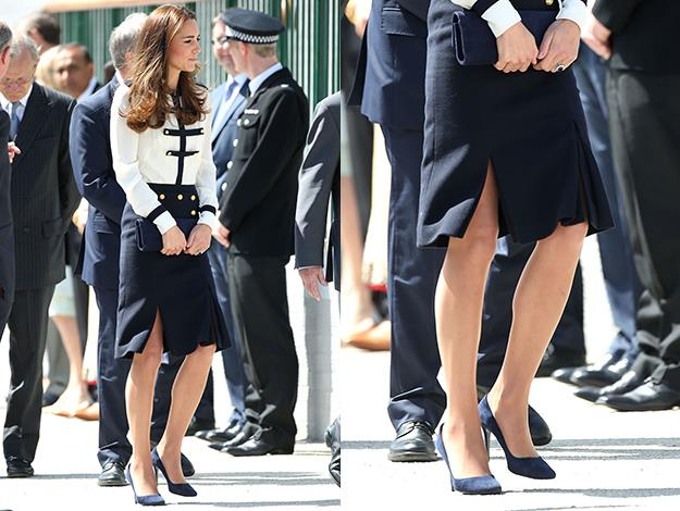 The Duchess wore an elegant Alexander McQueen outfit for her visit.