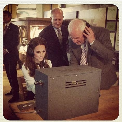 """The Clarence House Instagram account posts this photo, saying """"The Duchess of Cambridge deciphers a morse code message using a replicate radio that was used at Bletchley Park during #WWII"""""""