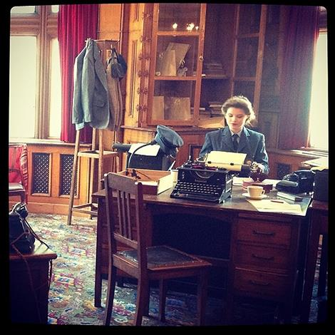 """""""The library at Bletchley Park, where The Duchess of Cambridge is visiting today to see the restoration project that has taken place. HRH will also meet on of the code-breakers who worked with her grandmother here during #WWII."""" Photo: Clarence House Instagram"""