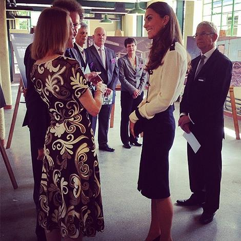 """""""The Duchess of Cambridge meets staff involved in the restoration of @bletchleypark."""" Photo: Clarence House Instagram"""