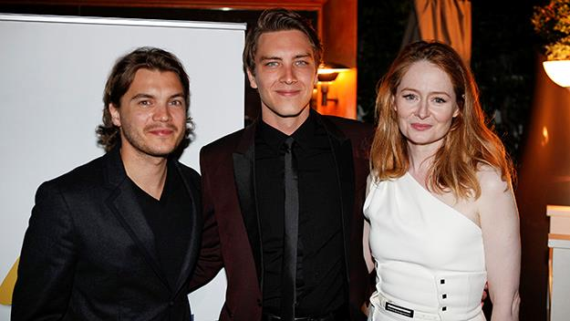 Hollywood actor Emile Hirsch with the scholarship's winner Cody Fern and Aussie actress Miranda Otto.