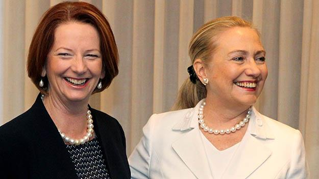 Then Prime Minister Julia Gillard meets former US Secretary of State Hillary Clinton in Perth in 2012.