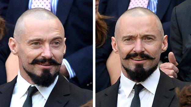 Hugh Jackman shaved head and beard