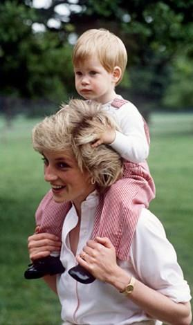 Diana and a young Prince Harry.