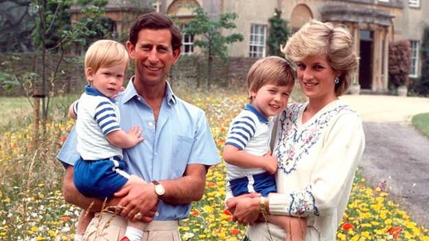 Charles, Diana, William and Harry at Highgrove in 1986.
