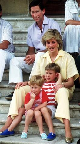 Charles, Diana, Harry and William on holiday in Italy.
