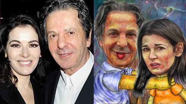Nigella Lawson and Charles Saatchi choking art