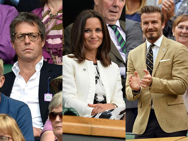 Hugh Grant, Pippa Middleton and David Beckham are just some of the stars to be spotted in the stands at Wimbledon.