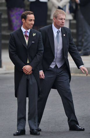 James in his three piece suit at the royal wedding of his sister in 2011.