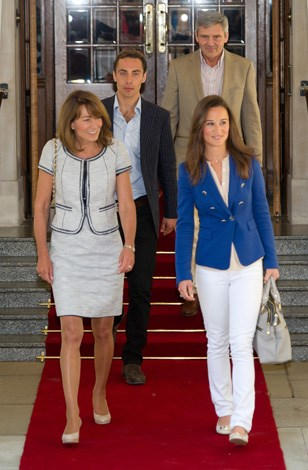 The Middleton clan, sans Kate, depart the Goring Hotel in London a day after the ceremony.