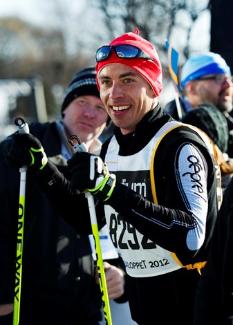"According to Tattler magazine an athletic James ""runs six miles a day with his dog"". Here the avid skier is snapped moments after crossing the finish line of the Vasaloppet cross country ski marathon in Mora in northwestern Dalarna, Sweden."