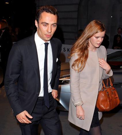 James Middleton is spotted attending a VIP screening of 'Skyfall' hosted by Aston Martin at The Curzon Mayfair with a mystery redhead. Hmmm... we see a theme developing here.