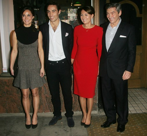 James stepping out with his family in support of his sister Pippa at her book launch in 2012.
