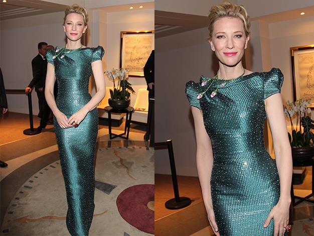 Cate Blanchett dressed in Valentino at Chopard Trophy during the 67th Annual Cannes Film Festival in May.