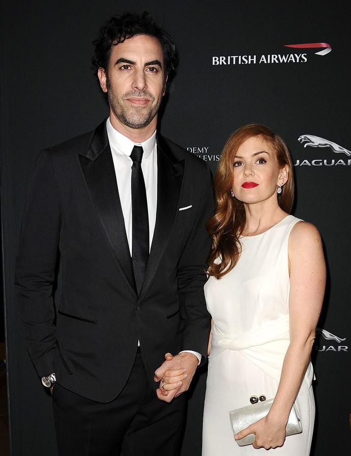 Sacha Baron Cohen and Isla Fisher at the BAFTA Los Angeles Britannia Awards at The Beverly Hilton Hotel last year.