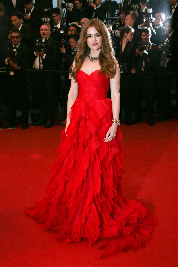 The mother-of-two wore a beautiful red gown to the premiere of 'The Great Gatsby' at The 66th Annual Cannes Film Festival.