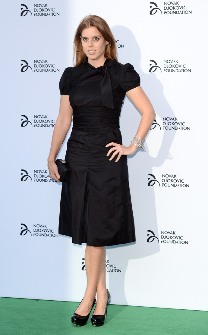 Prince Andrew's eldest daughter at the Novak Djokovic Foundation London gala dinner in 2013.