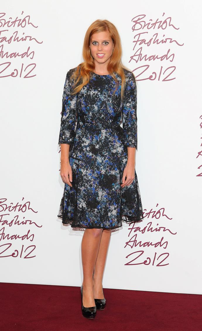 The Princess, wearing a grey and blue dress, poses in the awards room at the British Fashion Awards 2012 at The Savoy Hotel.