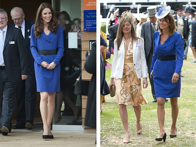 During a visit to Ipswich in 2012, the Duchess of Cambridge was spotted wearing the same dress her mother Carole Middleton wore to Ascot in 2010.