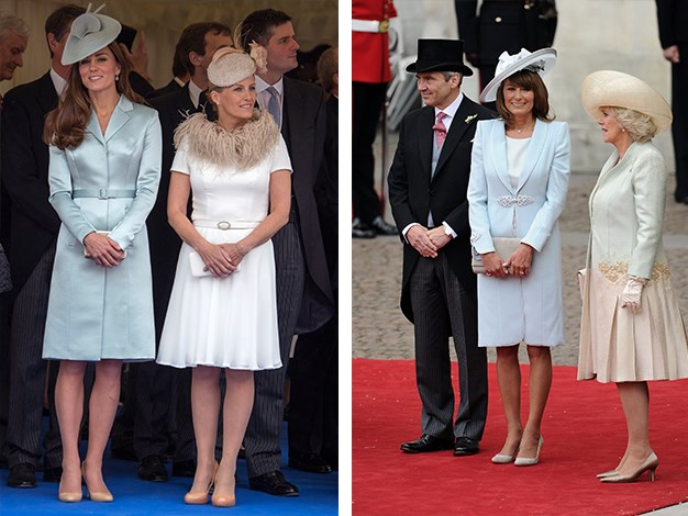 Kate wore a beautiful sky blue coat to the Order of the Garter Ceremony this year, while Carole chose a similar look for her daughter's wedding in 2011.