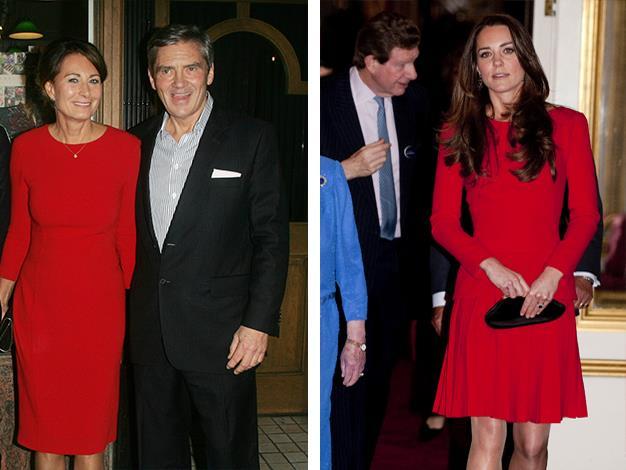 Carole wore a long-sleeved red dress to Pippa Middleton book launch in October 2012, while the Duchess selected a similar piece for a reception for the Dramatic Arts at Buckingham Palace earlier this year.