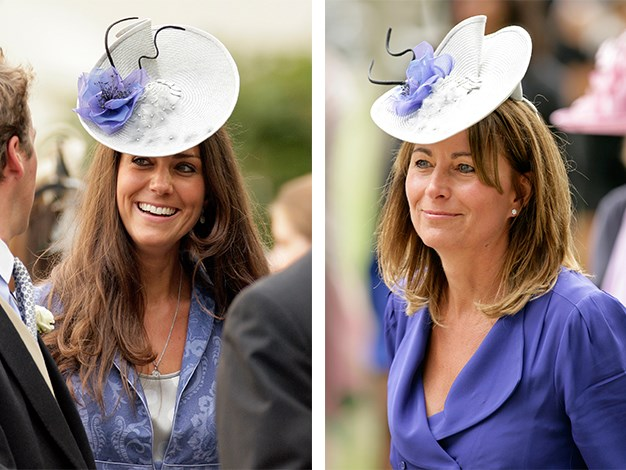 Kate recycled her mum's fascinator for the wedding of Nicholas Van Cutsem and Alice Hadden-Paton. Carole wore the stylish headpiece to Royal Ascot in 2010.