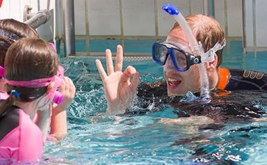 Prince William goes swimming with kids