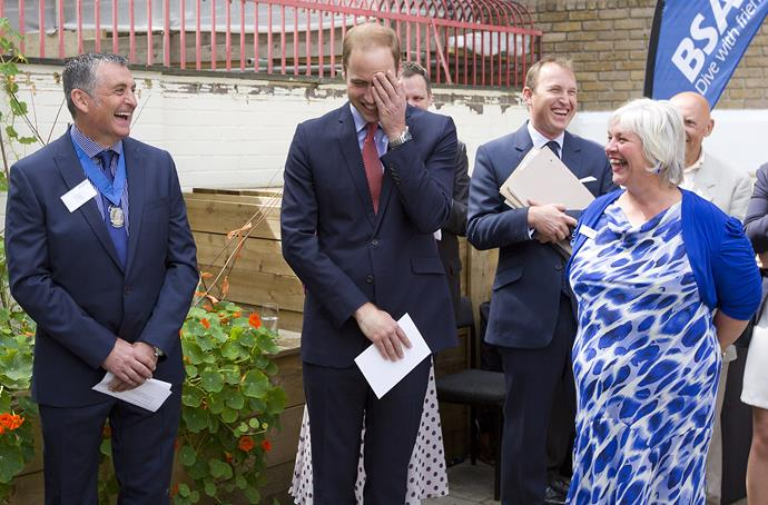 "Prince William reacts as Prince Charles says: ""I know my eldest will now demonstrate his buff credentials."""