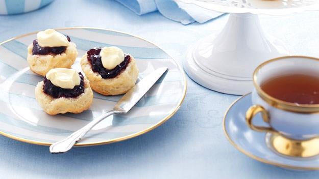 Scones with jam and cream. [Click here for the recipe](http://www.aww.com.au/food/recipes/2011/4/scones-with-jam-and-cream/).