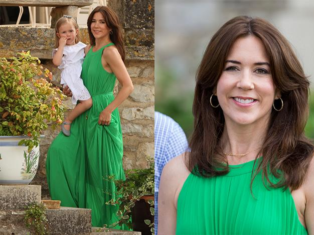 Princess Mary looked stunning in a bright green long dress holding Princess Josephine of Denmark at Chateau de Cayx last month. The Princess was there with her family to celebrate Prince Consort Henrik's 80th birthday.