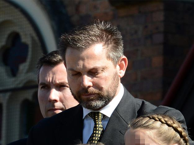 Gerard Baden-Clay at the funeral of his wife, Allison. He appealed for information after he reported her missing and claim his was innocent during her murder trial. The jury found him guilty and he was sentenced to life behind bars. Picture: AAP/Dan Peled