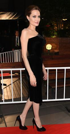 Angelina Jolie wore this velvet number to the Japanese premiere of *Maleficent*.