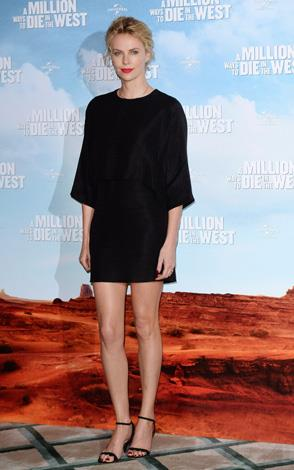 Charlize Theron gets leggy in her opaque take of the classic style.